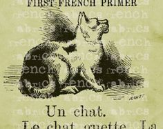 5x7 Fabric Block Paris France French Cat ZINE ACEO ATC cotton for altered art, collage
