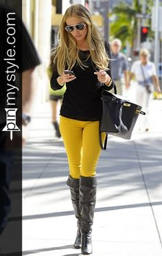 A black and yellow skinny jeans outfit for women with long black boots needs a carefully colored balance to pull off. Yellow Skinny Jeans, Yellow Pants, Sexy Outfits, Cute Outfits, Fashion Outfits, Womens Fashion, Black Boots, High Boots, Knee Boots