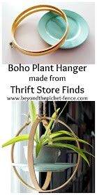 Thrifty Thursday Boho Plant Hanger - plant homes - Boho Plant Hanger DIY from Thrift Store Finds You are in the right place about thrift store crafts u - Thrift Store Furniture, Thrift Store Crafts, Thrift Store Finds, Thrift Stores, Thrift Store Refashion, Online Thrift, Boho Diy, Boho Decor, Hanging Plants