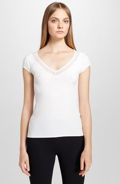 Donna Karan New York Cap Sleeve V-Neck Top available at #Nordstrom