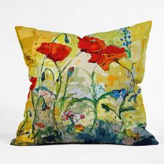 DENY Designs Ginette Fine Art Poppies Provence Throw Pillow