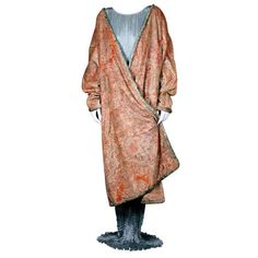 Mariano Fortuny Pink Coral Stencilled Velvet Long Coat. Photo Vintage Luxury