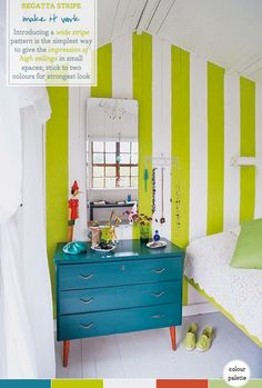 Lime Striped Guest Bedroom