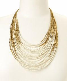 Another great find on #zulily! Gold & White Beaded Bib Necklace by ZAD #zulilyfinds