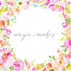 Watercolor Flower Frame - Angie Makes Stock Shop