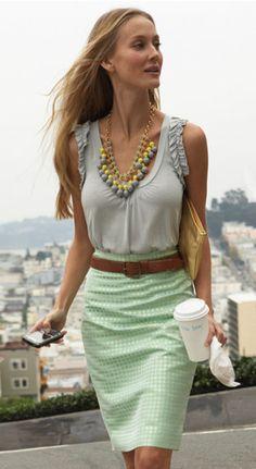 Spring Outfit: Knee-length skirt, tank blouse, belt