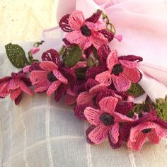 Turkish OYA Lace Flower stole Pale Pink by DaisyCappadocia