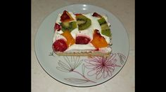 Τούρτα φρούτων~Dessert with fruits and biscuits Waffles, Pancakes, Biscuits, Fruit, Breakfast, Desserts, Recipes, Food, Crack Crackers