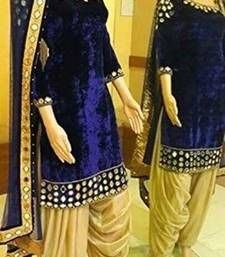 Buy jomso blue Velvet embroidered mirror work salwar with dupatta patiala-salwar online