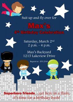 Up, up and away! Superhero themed Birthday Party Invitation
