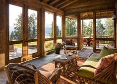 Rustic cabin sunroom that flows into the deck acts as a bridge between the inter. - Rustic cabin sunroom that flows into the deck acts as a bridge between the interior and - Rustic Sunroom, Sunroom Ideas, Patio Ideas, Porch Ideas, Rustic Outdoor, Indoor Outdoor, Bedroom Rustic, Outdoor Rooms, Rustic Kitchen