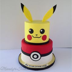 pokemon inspired cake with pokeball and pikachu on top. Bolo Fake Pokemon, Bolo Pikachu, Pikachu Cake, 6th Birthday Parties, 10th Birthday, Birthday Ideas, Pokemon Torte, Pokemon Pokemon, Pokeball Cake