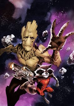Rocket Raccoon and Groot by Stéphane Perger *