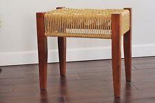 Mid Century Modern Woven Rope Cord Bench Stool-Danish Style Vintage Rope Vanity