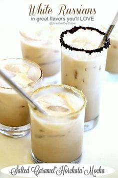 White Russians in flavors of salted caramel, horchata and mocha, perfect cocktails for everyday of the year. DailysDessertCocktails AD Content for Deliciously creamy and fun cocktail recipes Cocktail Desserts, Best Cocktail Recipes, Dessert Drinks, Yummy Drinks, Cocktails, Kahlua Drinks, Fancy Drinks, Martinis, Milkshakes
