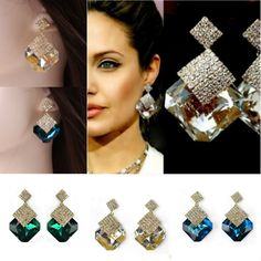 New Fashion rhombus crystal earrings gold plated shining stud errings for women free shipping-in Stud Earrings from Jewelry on Aliexpress.com | Alibaba Group
