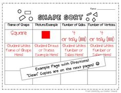 Here's a nicely organized set of tables for helping students sort shapes.