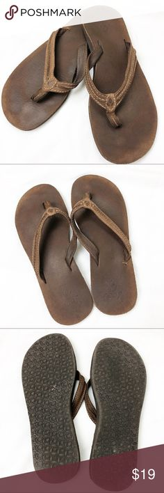 c1066ba3da0d Women s Reef Pre Loved brown leather flip flops Women s used Reef Pre Loved dark  brown leather