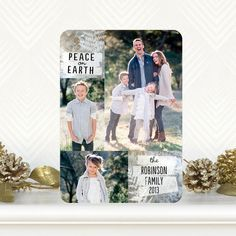 Frosted Foliage - Holiday Photo Cards allow you to add three of your favorite family photo cards. Christmas card complete!