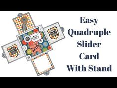 Quadruple Slider Card Tutorial / 4 Sided Slider Card By Srushti Patil Card Making Tutorials, Card Making Techniques, Making Ideas, Fancy Fold Cards, Folded Cards, Pop Up Cards, Cool Cards, Action Cards, Slider Cards