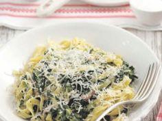 Tagliatelle met spinazie, mascarpone en ham - Libelle Lekker!