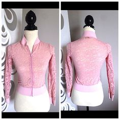 "PINK LACE varsity zip sweater Bust-32-33"" Waist-25""  Length- 17"" Sleeve-20""  Design by KL signature   This is such a gorgeous varsity style sweater made with pure lace. Rare and oh so cute. Posted with eBay Mobile KL SIGNATURE Sweaters"