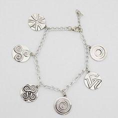 Teen Wolf Inspired Symbols Charm Bracelet Werewolf Triskele/triskelion, Revenge Spiral, Alpha Pack, Scotts Pack, Quadraspiral, Celtic Cross
