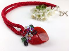 Red necklace crystal heart pendant and Red Satin by PastelGems,