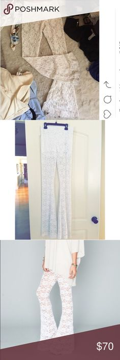 Show Me Your MuMu Lace Bell Bottoms Tad bit of wear shown on the bottom and on the elastic waist, it is coming apart a bit, but can easily be fixed by hand // SO much wear left // fits a 26-29 inch waist best // MAKE AN OFFER Show Me Your MuMu Pants