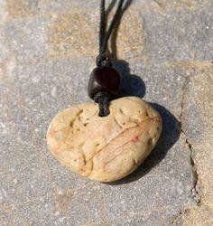Heart necklace Heart pebble pendant Natural heart pebble