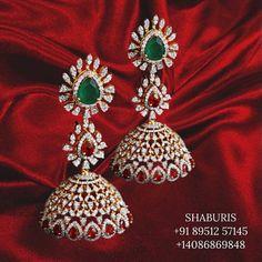 Gold Jhumka Earrings, Diamond Earrings, Diamond Jewelry, India Jewelry, Temple Jewellery, Stone Jewelry, Silver Jewelry, Hyderabadi Jewelry, Designer Earrings