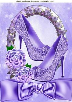 Purple sparkle shoes in rose frame with bow A4 on Craftsuprint designed by Nick Bowley - Purple sparkle shoes in rose frame with bow A4, makes a pretty card, lots of other designs to see, Also can be seen in A5 - Now available for download!