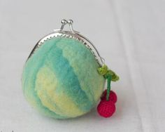 Wool coin purse - felted and with Cherries!!!! <3