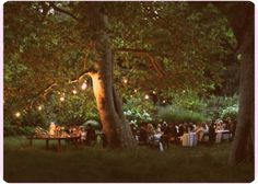 a night-time reception under the stars, with trees and hanging lanterns.