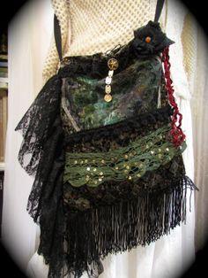 Bohemian Velvet Bag Black Lace Fringe embellished by GrandmaDede, $61.00