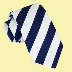 White Navy Blue Stripes Formal Boys Ages 7-13 Wedding Straight Boys Neck Tie