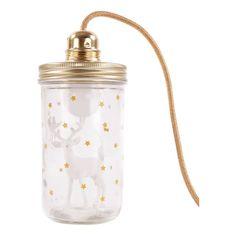 La tête dans le bocal Lampe Renne blanc avec étoiles et cordon pailletés La tête dans le bocal x Smallable-product