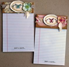 "Laura's Creative Moments: Just a note ... two shabby chic notebooks and one card ... Stampin' Up! ""Kindness Matters"""