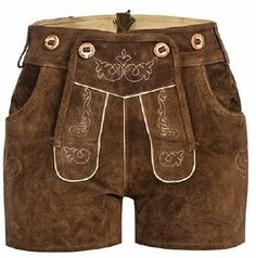 Damen Trachten Lederhose Shorts aus Ziegenveloursleder grün B-Ware