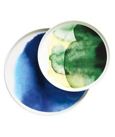 Oiva plates: Let your table be a canvas on which to display these artful watercolor ceramics.