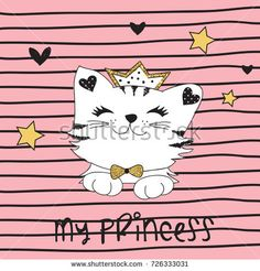 cute princess cat vector illustration