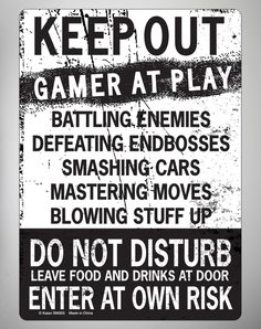 Party points to ME! I just found the Keep Out Gamer at Play Tin Sign from Spencer's. Visit their mobile website to get this item and more like it.