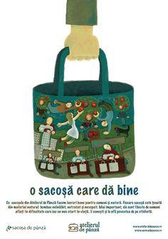 o sacosa care da bine pentru oameni si natura Tote Bags, Lunch Box, Book, Busy Bags, Books, Totes, Livres, Libros, Book Illustrations