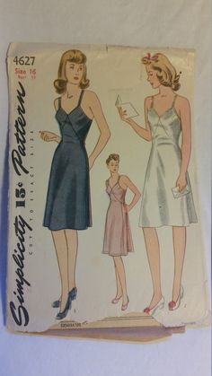 Vintage 1940s Maternity Slip sewing pattern  - Simplicity 4627 - Size 16 - Bust 34 by Yumbalaya on Etsy https://www.etsy.com/listing/257240825/vintage-1940s-maternity-slip-sewing