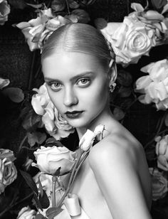 Nastya Kusakina for La Koradior fall 2014 Nastya Kusakina, Flower Model, Beautiful People, Beautiful Women, Exotic Beauties, Dark Lips, Russian Models, Model Pictures, Draw On Photos