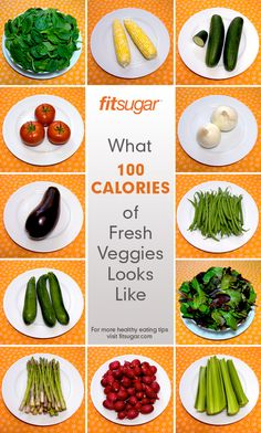 What 100 Calories of Fresh Veggies Look Like