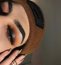 Full think perfect brows long lashes copper orange eye makeup Makeup Goals, Makeup Inspo, Makeup Inspiration, Makeup Tips, Beauty Makeup, Hair Makeup, Hair Beauty, Eyebrow Makeup, Indie Makeup