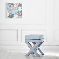 PB Teen Chambray with Coral Piping X-Frame Ottoman Stool ($199) ❤ liked on Polyvore featuring home, furniture, ottomans, pbteen furniture, pbteen, pipe furniture, coral ottoman and coral furniture