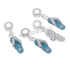 European Zinc Alloy Pendants, Slipper, antique silver color plated, without troll & enamel & with rhinestone, lead & cadmium free, 9x37x5mm,china wholesale jewelry beads