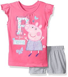 Peppa Pig Little Girls Toddler 2 Piece Ruffle Sleeve TShirt with Short Set PinkHeather Grey 3T >>> For more information, visit image link.Note:It is affiliate link to Amazon.